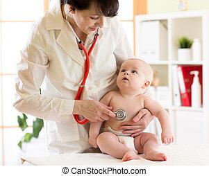 patiënt, arts, kinderarts, vrouwelijk kind, baby