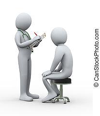 patiënt, arts, medisch, schrijvende , registreren, 3d