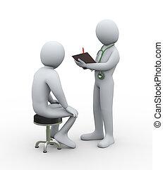 patiënt, arts, schrijvende , behandeling, geschiedenis, 3d