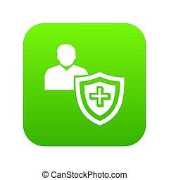 patiënt, bescherming, pictogram, groene