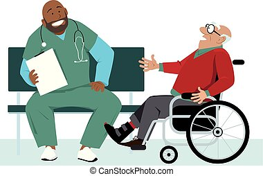 patiënt, bezoek, bejaarden