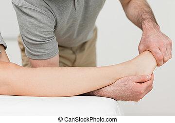 patiënt, enkel, fysiotherapeut, stretching