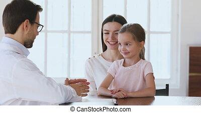 patiënt, gekwalificeerd, visit., mamma, kleine, raadgevend, ...
