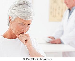 patiënt, haar, ziek, arts