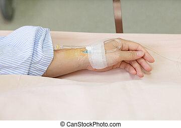 patiënt, hand, met, een, intraveneuze druppel