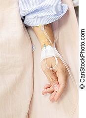patiënt, hand, met, een, intraveneuze druppel, voor,...