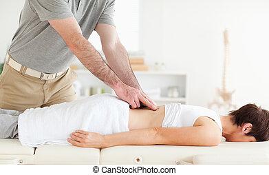 patiënt, het charmeren, acupressure, krijgen