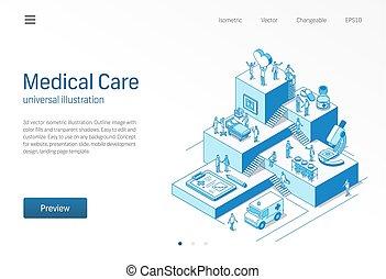 patiënt, illustration., isometric, behandeling, ziekenhuis, care., stap, concept, teamwork., lijn, verpleegkundige, icon., medische kliniek, onderzoek, arts, diagnostisch, groei, infographic, gezondheidszorg, laboratorium