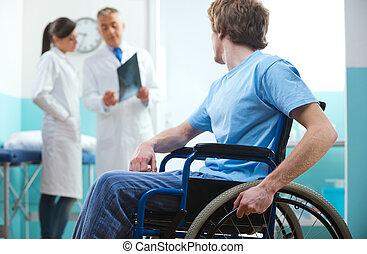 patiënt, in, wheelchair