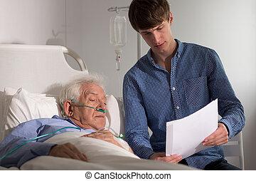 patiënt, kijken naar, medische verslagen