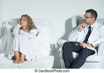 patiënt, klesten, met, een, psychiater