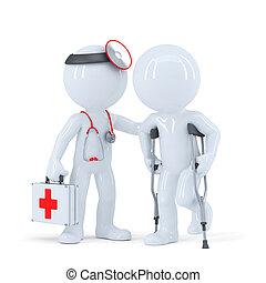 patiënt, met, krukken, sprekend aan, een, arts