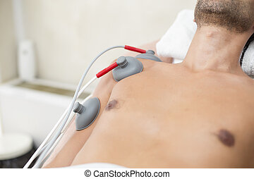 patiënt, op, fysiotherapie