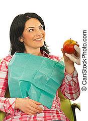 patiënt, vrouw, krijgen, een, appel