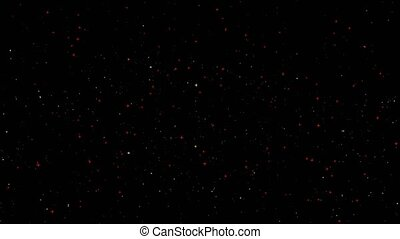 paticle yellow border and red yellow white stars floating on space