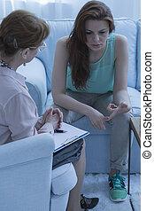 patiemment, patient, écoute, elle, psychiatre