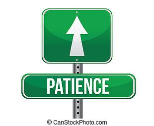 patience, conception, route, illustration, signe