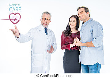 doctor pointing at medical care icon