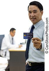 patient, à, carte de débit, pour, assurance, concept