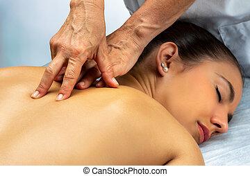 patient., 医薬, 脊柱, 前方へ, 女性, 物理療法家, マッサージ, 背中