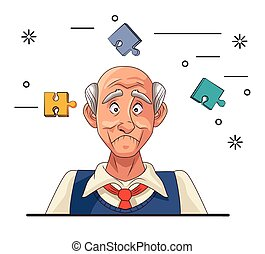patient, alzheimer, maladie, homme, morceaux puzzle, vieux