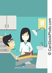 Patient and doctor at dentist office.