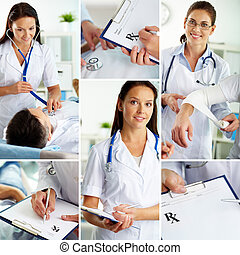 Patient and doctor - Collage of medical staff working...