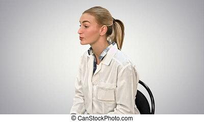 patient, arrière-plan., docteur, recette, écriture, conversation, femme, blanc
