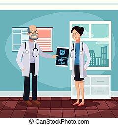 Patient at doctors office cartoon