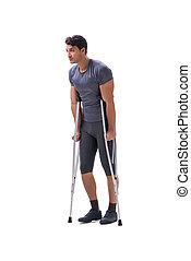 patient, athlète, jeune, sportif, souffrance, trauma, blessure