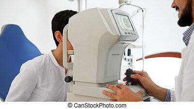 patient, attentif, femme, fente, optométriste, lampe, ...