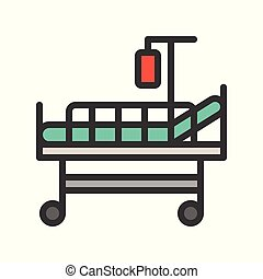 patient bed and blood bag, filled outline icon