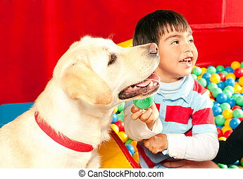 Patient been treated with the assistance of a trained dog