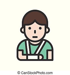 Patient broken arm avatar filled outline icon