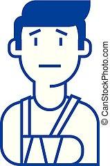 Patient, broken hand line icon concept. Patient, broken hand flat vector symbol, sign, outline illustration.