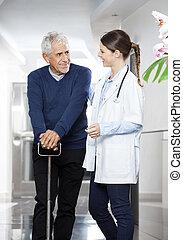 patient, bruge, stok, mens, kigge hos, kvindelig doktor