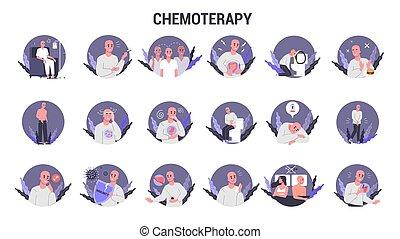 patient, cancer, set., côté, souffrir, effets, chemotherapy
