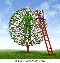 Patient care health care and medicine symbol od medical illness prevention with a growing green tree in the shape of a human body and a doctor operating on the person as a preventative service.