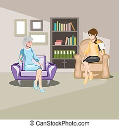 Patient character talking to psychologist about problems....