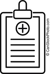 Patient checklist icon, outline style