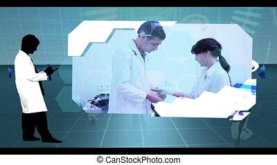 patient, cli, hôpital, montage