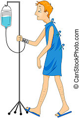 Patient Walking with Drip with Clipping Path
