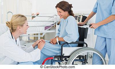 patient, conversation, docteur, fauteuil roulant