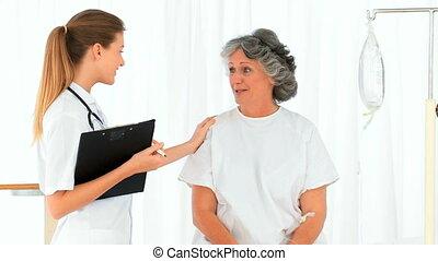 patient, conversation, infirmière, elle