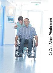 patient, couloir, hôpital, pousser, femme, infirmière