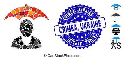 patient, crimea, parapluie, icône, collage, grunge, ukraine, cachet, sécurité