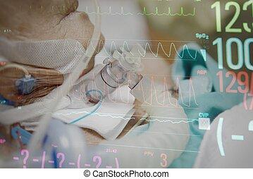 Patient do tracheostomy and ventilator in hospital - Patient...