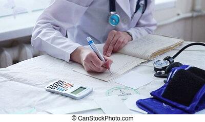 patient, docteur, écriture, mains, prescription, blanc uniforme