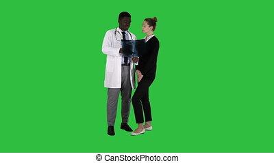 patient, docteur, chroma, écran, poitrine, vert, key., rayon x, spectacles