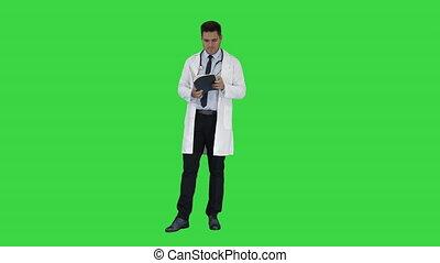patient, docteur, chroma, monde médical, recepie, écran, livre, vert, key., texte, rapport, lecture, ou